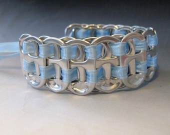 Recycled Soda Pop Can Tab Bracelet Baby Blue Ribbon