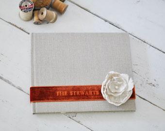 Custom Wedding Album Design, a Meaningful Wedding Photo Album - Velvet Sash & Handmade Silk Flower Custom Book design by Claire Magnolia