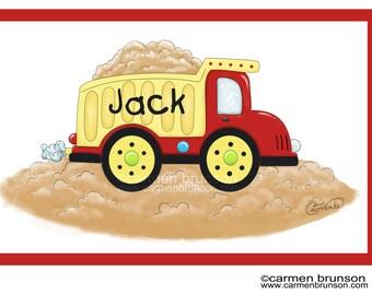 Personalized Laminated Placemat, kids placemat, kitchen, monogram, , Dumptruck, Construction, truck