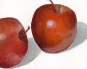 Original Small Acrylic Painting of Apples Food Still Life - Minimalist Art for Kitchen Decor