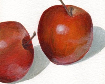 Original Small Acrylic Painting of Apples Food Still Life - Minimalist Art for Kitchen Decor
