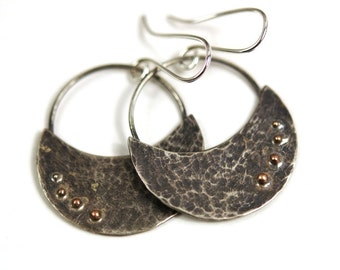 Hammered and Oxidized Sterling Silver Crescent Moon Earrings with 14 karat Gold Filled Balls - statement - ready to ship