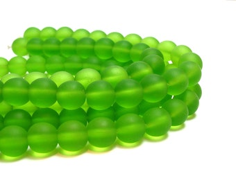 "8"" 21pcs LIME green 10mm sea beach velvet glass beads matte frosted medium round"