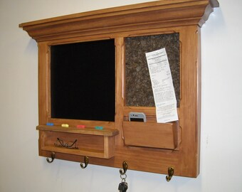 Wall Hanging Walnut stained  Message Center, Bulletin Board, perfect for a house warming or wedding gift.