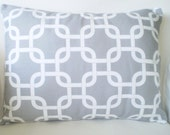Gray White Lumbar Pillow Cover, Decorative Throw Pillows Lumbar Cushion, Grey White Gotcha, Geometric Couch Bed Sofa, One 12 x 16 or 12 x 18