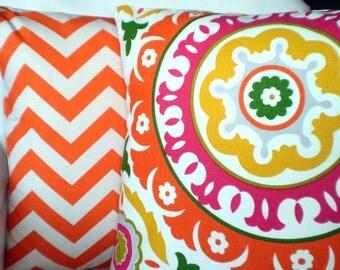 Pillow Covers Decorative Pillows Throw Pillow Cushions Orange Raspberry Yellow Green Cream Solar Flair Chevron Zig Zag - Combo Set 18 x 18