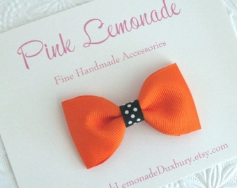 Toddler Girls Simple Halloween Hair Bow Headband ~ Orange and Black Boutique Bow