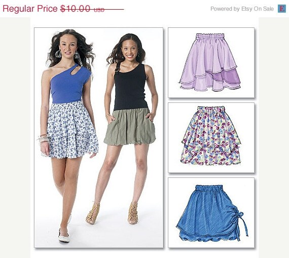 On Sale McCalls Skirt Pattern M6327 - Misses' Pull-on Skirt in Five Variations - Sz 6/8/10/12