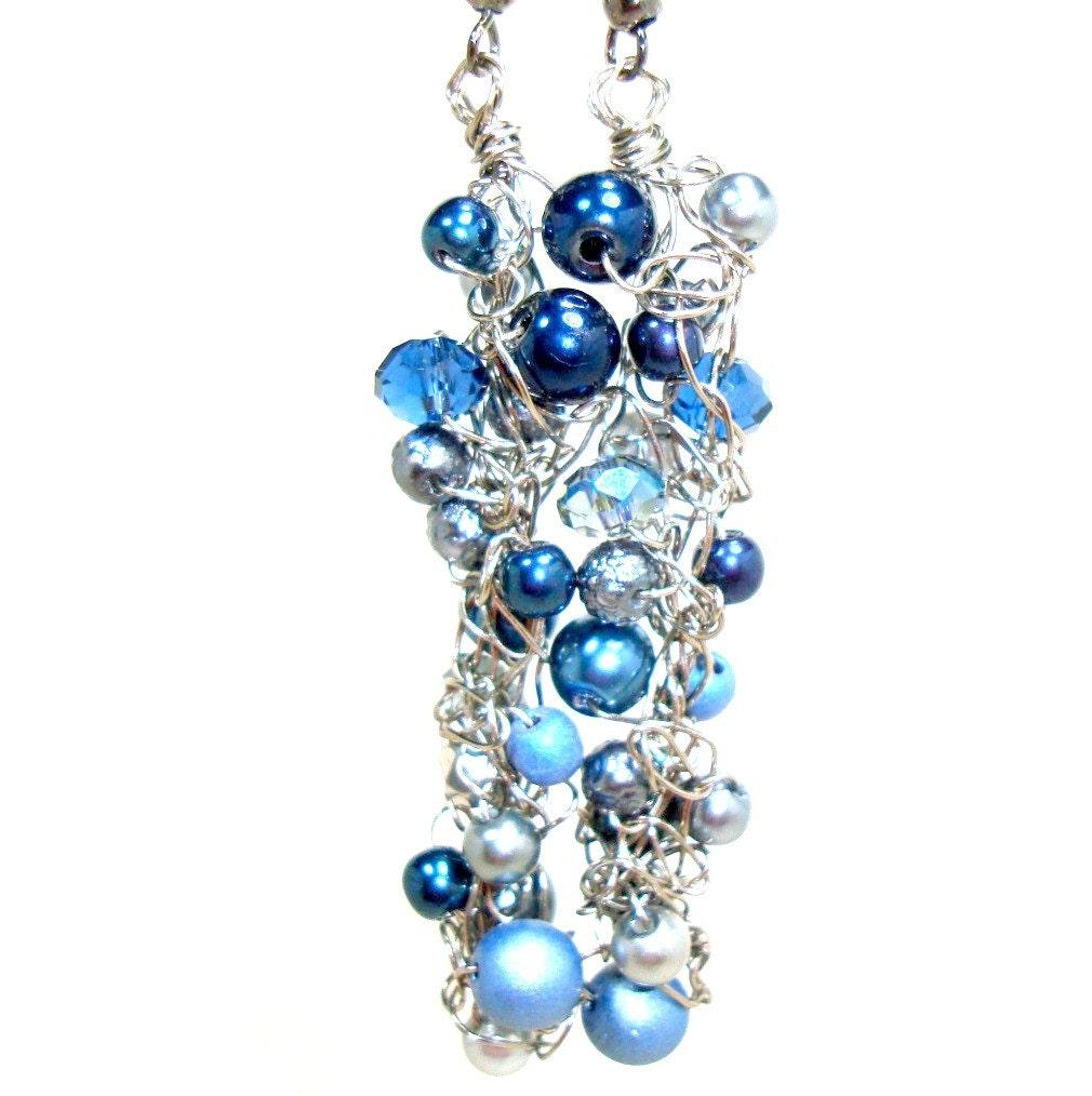 blue beaded earrings steel wire knit dangle cascade by