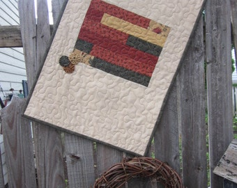 """QUILTED AUTUMN TABLEMAT , Contemporary Style/Country Twist, YoYo Embellished, Fall Colors, Autumn Themed Fabrics, 16.75"""" x 26"""", Handmade"""