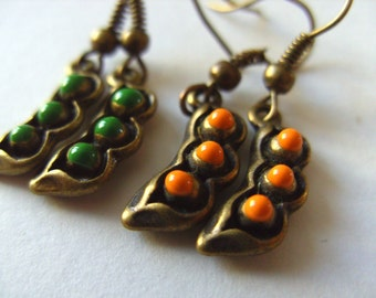 Cute, Peas in a pod, choose green or orange, vegetables, green, orange and bronze, by NewellsJewels on etsy