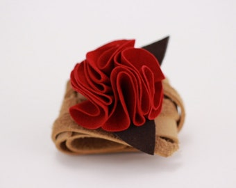 Red Suede Leather Flower Cuff Bracelet