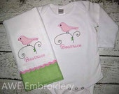 Monogrammed Burp Cloth and Bodysuit or Gown Gift Set for Baby Girl - Sweet Bird Design - Embroidered Personalized