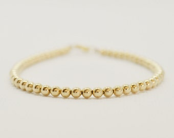 Gold Beaded Bracelet - small gold filled round beads minimalist delicate layering bracelet everyday jewelry - adenandclaire