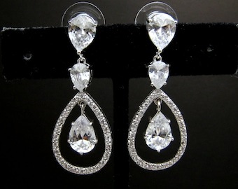 bridal wedding jewelry christmas party bridesmaid gift prom Clear white teardrop AAA cubic zirconia on teardrop cz white gold post earrings