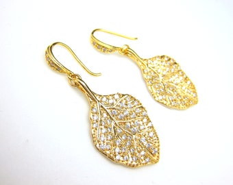 cubic zirconia decorated leaf earrings with golden cz hook- Free US shipping
