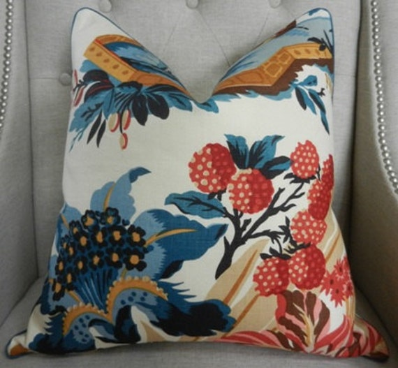 Le Jardin Chinois Brunschwig: Decorative Designer Pillow Cover 20X20