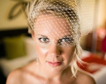 Wedding Veil,Bridal Veil, Ivory Bridal Veil, White Bridal Veil, French Net Bridal Veil,  Small Veil, Bandeau Bridal Veil, Vintage Style Veil