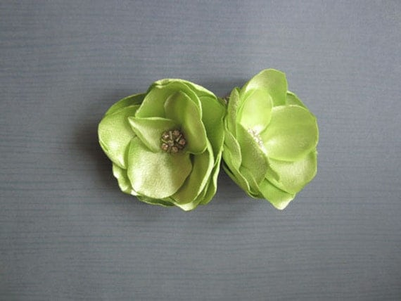 Pistachio Apple green Satin Flowers with Rhinestone Center Handmade Green wedding Shoe clips or Hair clips