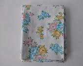 unused standard pillowcase - new, white, floral, shabby chic, aqua, yellow