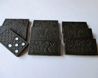 black dragon dominoes - 28 pieces, game pieces, tiles, wood