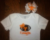SEC Game Personalized Onesie Tennessee Vols With Matching Hairbow...Great Gift Idea