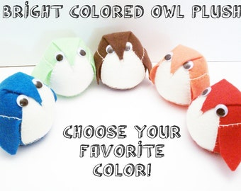 1 Owl Plushie - Choose from Red, Orange, Lime Green, Teal Blue, Chocolate Brown