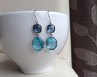 Bluer than Blue Earrings -  gift, wife,mother, girlfriend, sister, daughter, bridesmaid, romantic, birthday, prom, pageant
