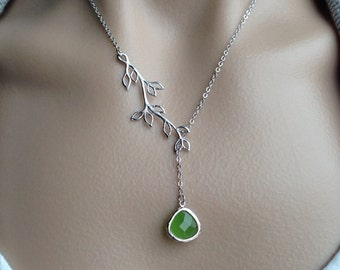 Silver Branch Lariat with Peridot Opal Glass Teardrop -  Christmas, wife, gift, bridesmaid, birthday, mother, sister, daughter
