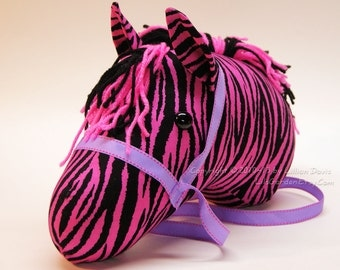 Stick Zebra Head, Hot Pink, MADE to ORDER, With or Without Stick