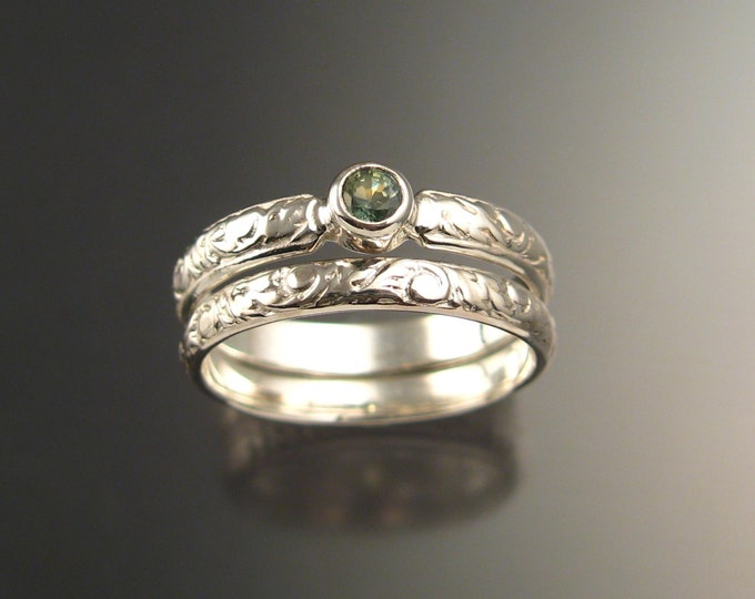 Green Sapphire Wedding set 14k White Gold Victorian bezel set Green Diamond substitute ring made to order in your size