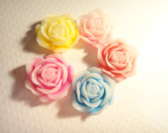 Large Resin Flower Cabochon mixed colors 32mm 5pcs (no hole)