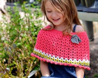 PDF Crochet Pattern - Paisley Capelet (6m, 12m, 2-3t, 3-4t, 4-5t, 5-8y) shrug poncho baby toddler