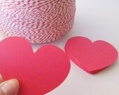 40 Die Cut Hearts- 3 x 2.5 inches - choose your color