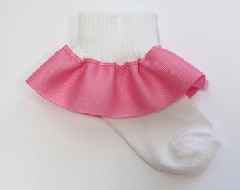 Hot Pink Ribbon Ruffle Socks