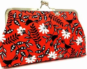 serafina  -   8 inch metal frame clutch purse - red - bird - floral - black - white - large clutch - kiss lock clutch  - clutch bag