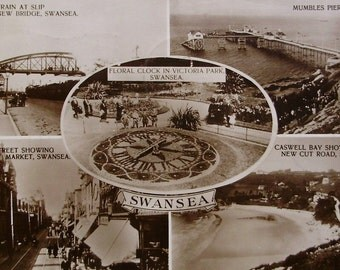 Vintage Postcard RPPC - Scenes of Swansea, Wales, Gt. Britain