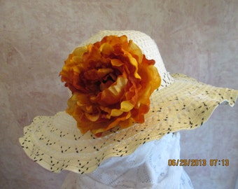 Womens ivory straw Fall hat with flower - straw hat - straw flower hats - Fall straw hat -