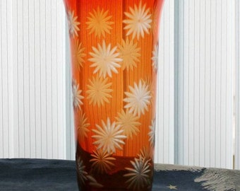 Vintage Glass Vase - Soviet Russian Red Art Glass Vase - Floral Diamond Etchings - 1980s - from Russia / Soviet Union / USSR