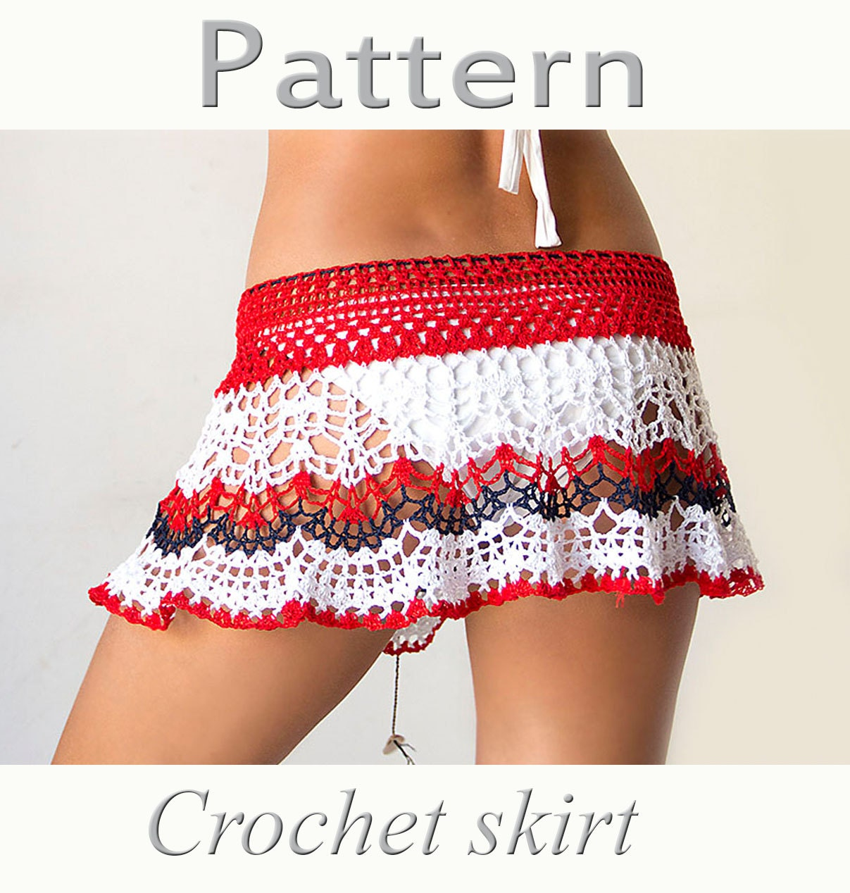 Free Crochet Pattern For Cowgirl Skirt : PATTERN Crochet beach skirt PDF lace cover up by katrinshine