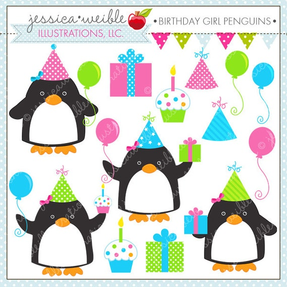 birthday girl penguins cute digital clipart for commercial or rh catchmyparty com 1st birthday girl clipart birthday girl clipart free