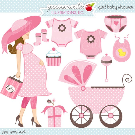 Girl Baby Shower Cute Digital Clipart - Commercial Use OK ...
