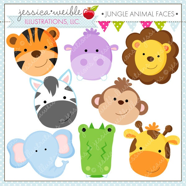 Jungle Animals Cartoon Clipart Jungle animal faces cute
