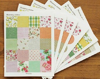 Blooming Fabric Style Pattern Stickers - 6 sheets (4.5 x 6in)
