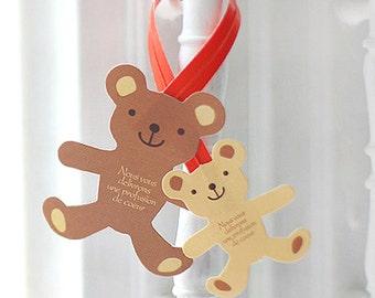 10 Handmade Twist Ties - Teddy Bear (6.5 x 1.6in)