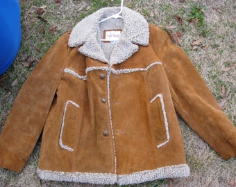 Mens Sueded Leather Coat, Vintage, Size 44