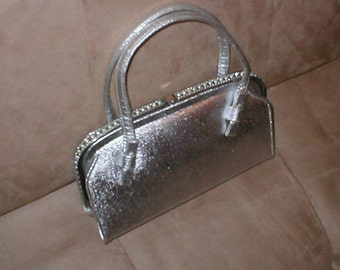 circa1950  Vintage Silver Rhinestone Evening Bag Purse