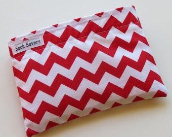 Reusable Snack Bag Eco Friendly Red Chevron