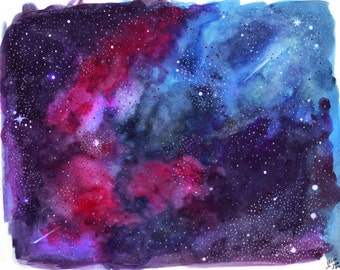 Watercolour Illustration titled Galaxy