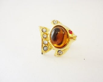 little tiny fish pin lapel pin gold and rhinestones amber color cabochon